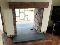 Welsh Slate Hearths Direct from our quarry - Buy Online T: 01792 851700 Double Sided Stove, Double Sided Fireplace, Wood Burner Fireplace, Slate Hearth, Wood Stove Cooking, Old Stove, Cottage Fireplace, Best Home Interior Design, Fireplace Design