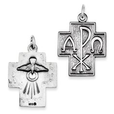 IceCarats Designer Jewelry Sterling Silver Antiqued Alpha Omega Cross Pendant *** Continue to the product at the image link.