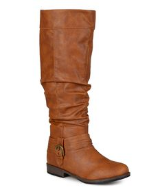 Loving this Chestnut Debi Slouch Wide-Calf Riding Boot on #zulily! #zulilyfinds