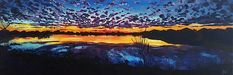 Josey Lake at Sunset  By Allison Fox 12x36 inches, acrylic on canvas Prints available @foxfiregalleries Www.foxfiregalleries.com