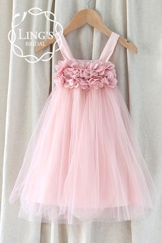 Pastel Dusty Pink Tutu Flower Girl Dress – Ling's Bridal