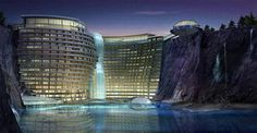 Atkin's Architecture Group won the first prize award for an international design competition with this stunning entry. Set in a spectacular water filled quarry in Songjiang, China, the 400 bed resort hotel is uniquely constructed within the natural elements of the quarry.