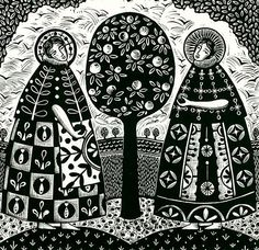 Apple Picking Saints - by Libby Schreiber Linocut 52 x 51 cm