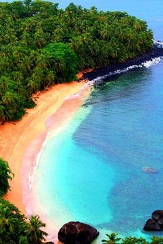 Beautiful beach in the Bom Bom islet, Sao Tome and Principe. Some of the best beaches in Africa are found in this country. #travel #SaoTome