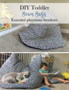 DIY Bean Bags make a great and inexpensive addition to a playroom. Perfect for toddlers, kids, parents, and even dogs! Each bean bag cost about $30.