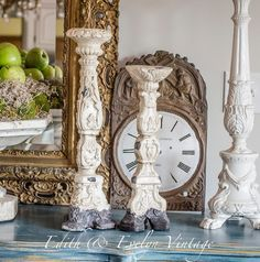 Gorgeous Pr Carved Candlesticks Shabby Tripod by edithandevelyn