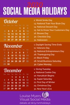 Social Media Tips - business marketing ideas Marketing Calendar, Social Media Calendar, Marketing Digital, Calendar 2020, Calendar Ideas, Yearly Calendar, October Calendar, Business Calendar, Blank Calendar
