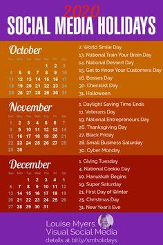 Social Media Tips - business marketing ideas Marketing Calendar, Social Media Calendar, Marketing Digital, Content Marketing, Business Marketing, Calendar 2020, Business Tips, Email Marketing, Internet Marketing