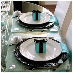Tiffany Inspired Blue Favor Boxes with Black by favoritesbyglenda, $1.25