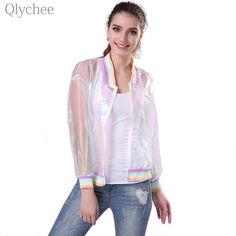 Qlychee Harajuku Summer Women Jacket Laser Rainbow Sunscreen Sunproof Symphony Coat Clear iridescent Transparent Jersey Jacket