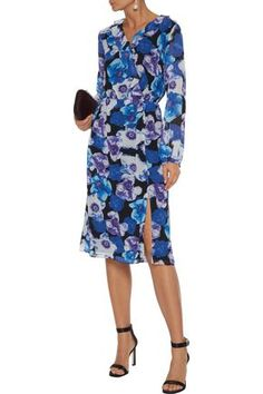 Shop on-sale Pleated ruffle-trimmed floral-print georgette dress. Browse other discount designer Knee Length Dress & more luxury fashion pieces at THE OUTNET Dresses For Sale, Dresses For Work, Dress Sale, Knee Length Dresses, Purple Dress, Ruffle Trim, Jacket Dress, Dress Outfits, Luxury Fashion