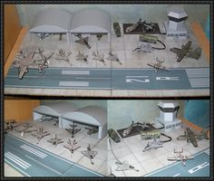 This papercraft is a Military Airfield Diorama, created by aurélien. The paper model series includes Avro Vulcan (RAF), Mig-21 (RDA), C160 Transall + Mirage 2000 (UE), Aero Albatros L39 + Soukhoi SU-25 + Mig-29 (URS), F14 Tomcat + FA-18 Hornet + A6 Intruder + F16 Eagle + A10 Fairchild Thunderbolt + F22 Raptor + EC2 Hawkeye + CH53 Sea Stallion + Osprey + SR-71 Blackbird (USA), and elements of decor: a tarmac and runway, two hangars, a control tower and two vehicles.