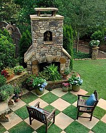 Pathways Design Ideas for Home and Garden :: Hometalk - Man, someday I'd love a fireplace like this in my garden