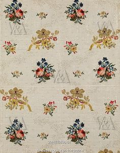 Textile design with flowers. Brocaded silk. Spitalfields, London, England, 1760-70.