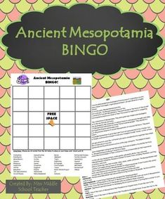 Mesopotamia Bingo This is a bingo game that I created for my middle school social studies students to review key vocabulary at the end of our unit on ancient Mesopotamia. Students fill their card with any words from the list and I call out the definition. If they know the definition and have the word on their card, they mark it. They love playing and it's a fun way to reinforce topics/vocabulary from the unit.