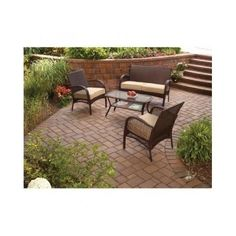 Patio Conversation Set Furniture 4 Piece Wicker Outdoor Garden Deck Seats 4 New…