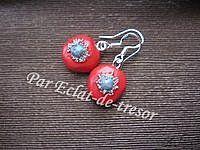 Boucles d'oreilles Argent 925 Rouge