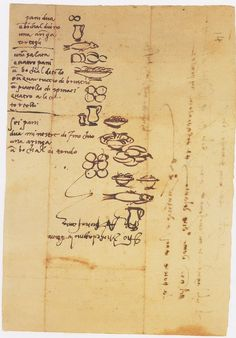Michelangelo grocery list, illustrated for his illiterate assistant via hyperallergic.com