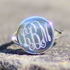 Monogrammed Sterling Silver Taylor Ring