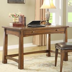 """Riverside Craftsman Home Writing Desk - I don't want THIS one, but I love the style of it--the wider base of the legs, the """"drawer,"""" pretty much all of it."""