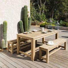Tavolo + 2 panche da giardino in legno L 180 cm