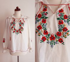 Vintage Hungarian Peasant Blouse - 1970's Matyó Kalocsa Embroidered Blouse - Size S-M by PaperdollVintageShop on Etsy