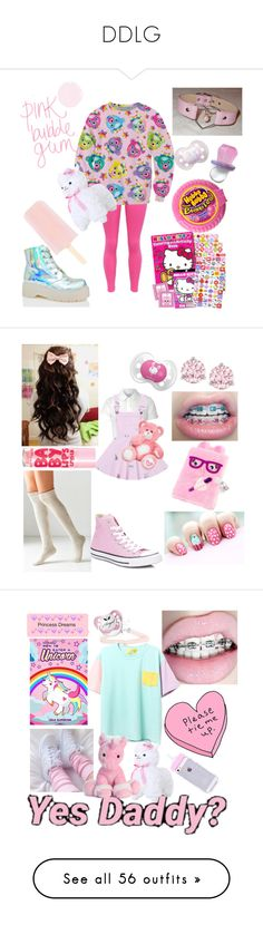 """""""DDLG"""" by brianaishungry ❤ liked on Polyvore featuring WithChic, Y.R.U., Hello Kitty, Glamorous, Out From Under, Converse, Maybelline, Swarovski, claire's and Hot Topic"""