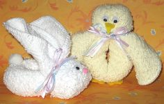 Face Cloth Chick   Materials:  - face cloth  - narrow ribbon(s)  - 2 googly eyes  - small piece of yellow felt  - needle and thread to ma...