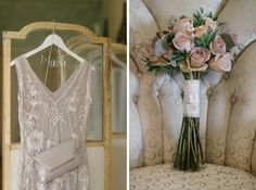 1920's dress with flowers with porcelain broach - wedding of Stu and Trish by Ria Mishaal photography at Babington House