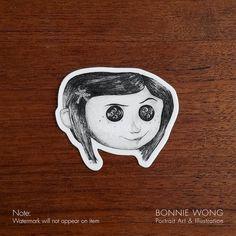 Coraline Vinyl Sticker / Laptop Sticker / Decal Sticker / Creepy Cute Horror sticker / Planner Sticker Art / Die Cut Sticker / Gift For Her Coraline And Wybie, Coraline Art, Coraline Jones, Coraline Movie, Coraline Button Eyes, Coraline Tattoo, Pen Illustration, Sticker Design, Sticker Art