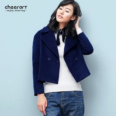 3dfe3e508ef Aliexpress.com   Buy Women Winter Wool Coat Big Turn Down Collar Jacket  Wools And Blends Ladies Short Khaki Dark Blue Basic Coat from Reliable  jacket double ...