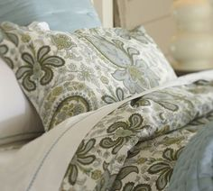 Charlie Paisley Rustic Luxe™ Bedding Ensemble - Blue | Pottery Barn. currently loving green bedding!
