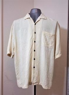 JAMAICA JAXX 100% SILK Ivory Cream TIKI LOUNGE HAWAIIAN CAMP SHIRT MEN'S XL A13 #JamaicaJaxx #Hawaiian