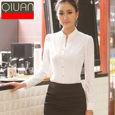 Spring summer and autumn women white blouse professional ladies office shirts stand collar formal shirt short-sleeve blusas 50 White Shirts Women, Blouses For Women, Ladies Shirts Formal, Formal Shirt Women, Mode Outfits, Fashion Outfits, Women's Fashion, African Blouses, The Office Shirts