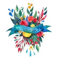 Beautiful floral greeting card bright vector 4401685 - by Shumo4ka on VectorStock®
