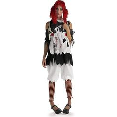 Gothic Ragdoll Costume Gothic Ragdoll Adult CostumeHorror, haunted, or perhaps aserial killer. Costume includes: Shirt with attached tattered and bloodya Rag Doll Halloween Costume, Broken Doll Costume, Tween Halloween Costumes, Costumes For Teens, Halloween Fancy Dress, Adult Costumes, Women Halloween, Halloween Night, Halloween Ideas