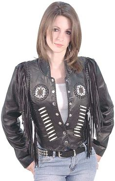 "Ladies black fringe leather jacket with Indian bead work. Cute design features 8"" leather fringe, hand whip stitch lacing and genuine bone beading. #L4250FBK"