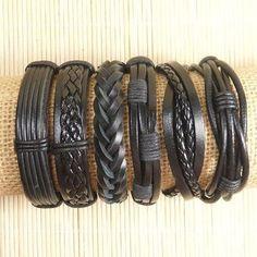Leather Bracelets 6 Piece Mens Bracelets by BraceletStreetUSA