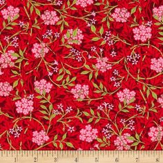 Moda The Morris Jewels Jasmine Ruby from @fabricdotcom  Designed by Barbara Brackman for Moda, this cotton print is perfect for quilting, apparel and home decor accents. Colors include shades of red, shades of green and pink.
