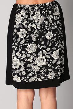Jupe noire imprimée lotus Falda