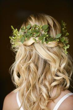Beautiful Rustic Woodland Bridal Bride Boho Half Up Half Down Wavy  Hair http://www.careysheffield.com/