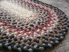 Handmade Vintage Wool Oval Braided Rug in Earthtones by mrsginther, $149.00