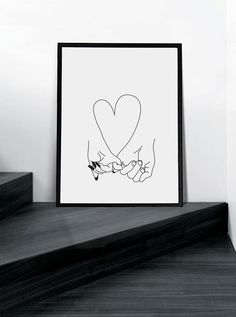 Pinky Promise - Modern Art - Sexy Wall Art - Art & Collectibles - Digital Print - Graphic Art - Abstract - Black and White - His And Her's