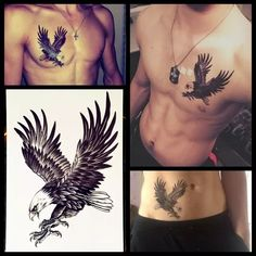 98ad255ea Online Shop 25 Style Choose 3D Large Black Eagle Tattoo Stickers For Men  White Hawk Removable