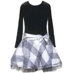 In Fashion Kids  Black and Silver Plaid Dress Girls 14