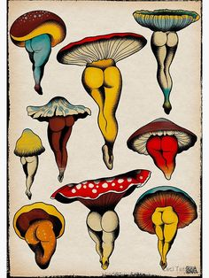 Another entry in my series of sexy vegetables, These naked mushrooms, presented like a vintage botanical illustration, will make you smile. Veganism is sexy and they are here to prove it! Illustration Botanique Vintage, Vintage Illustration, Botanical Illustration, Flash Art Tattoos, Tattoo Flash Sheet, Mushroom Drawing, Mushroom Art, Art Hippie, Arte Peculiar
