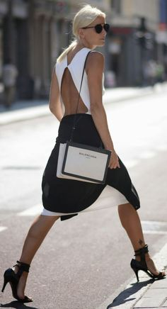 Dior Black And White Chic Open Back Evening Mini Dress - Total Street Style Looks And Fashion Outfit Ideas Fashion Mode, Look Fashion, Womens Fashion, Fashion Trends, Net Fashion, Trending Fashion, Fashion 2018, Milan Fashion, Dress Fashion