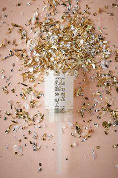 Confetti push-poppers with glittery gold confetti. LOVE!