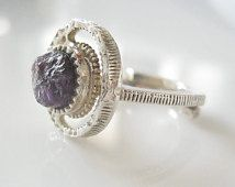 Modernist Aukusti Paatola Ring Rough Amethyst, Raw Gemstone, Sterling Silver Ring, Scandinavia