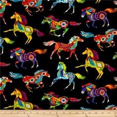 Timeless Treasures Out West Southwest Horses Brite Fabric By The Yard Fat Quarters, Horse Fabric, Horse Quilt, Timeless Treasures Fabric, Scrub Hats, Bird Patterns, En Stock, Native American Art, Native Art